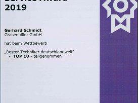Urkunde Kyocera Service Award 2019