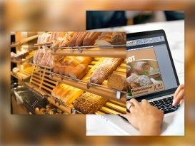 Brot beim Bäcker und Visuprint auf Laptop