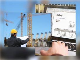 Architekt der Plan betrachtet und Sage 50 Handwerk auf Laptop