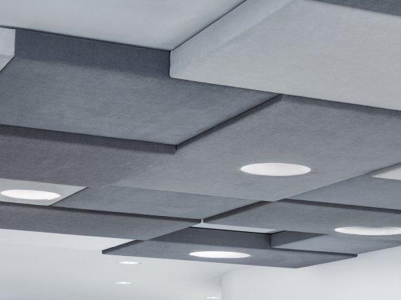 Akustik-Lösung mit integrierter Beleuchtung im Büro