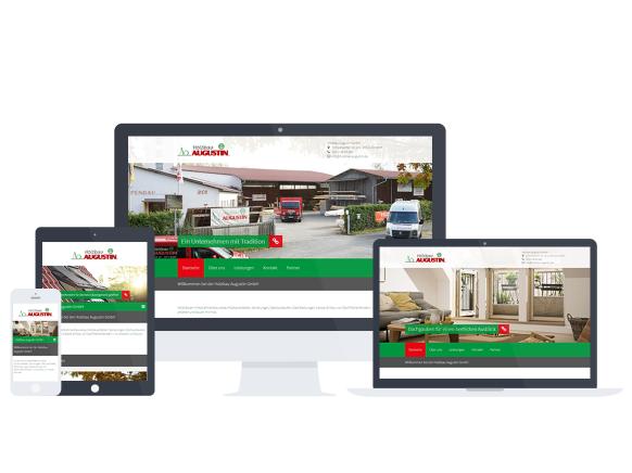Mockup der Website von Holzbau Augustin