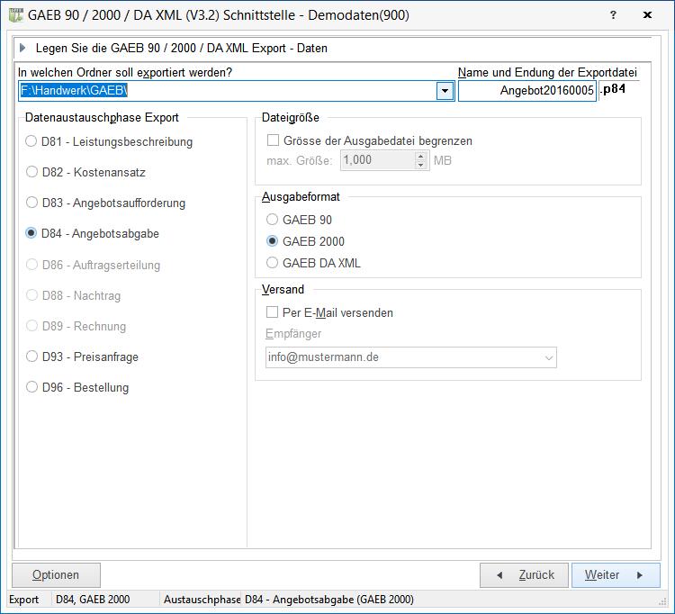 Angebot über Die Gaeb Schnittstelle Als Gaeb Datei Exportieren